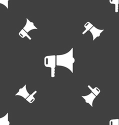 megaphone icon sign Seamless pattern on a gray vector image
