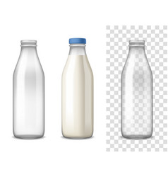 milk glass bottles realistic set vector image