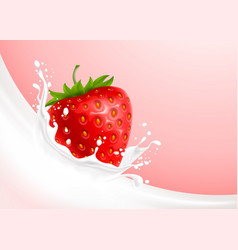 Milk splash and strawberry vector