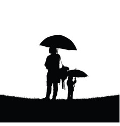 mother and daughter with umbrella vector image