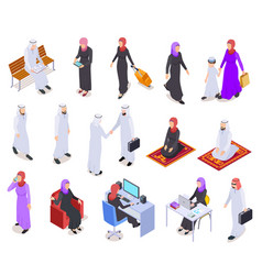 muslim isometric arab 3d people saudi business vector image