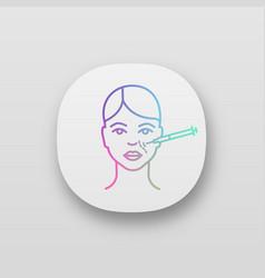Nasolabial folds neurotoxin injection app icon vector