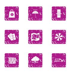 new journey icons set grunge style vector image