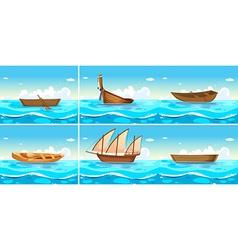 Ocean scenes with boats on water vector image vector image