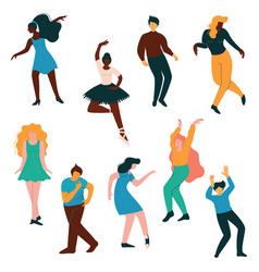 People dancing set men and women dancer vector
