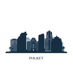 phuket skyline monochrome silhouette vector image