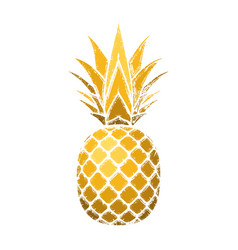 Pineapple grunge with leaf tropical gold exotic vector