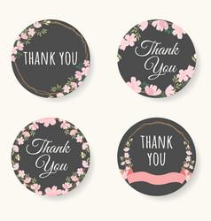 pink sakura or cherry blossom flower thank you vector image