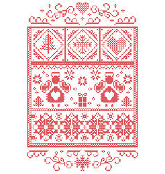 Scandinavian christmas card in cross stitch vector