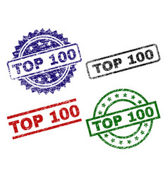 scratched textured top 100 stamp seals vector image