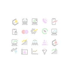 Set line icons web analytics vector