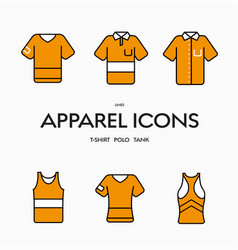 Set orange clothing icons with black strokes vector