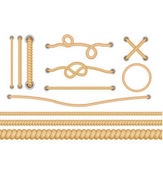 set various types nautical loops and knots vector image