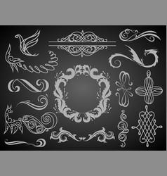 set vintage decorations elementsflourishes vector image