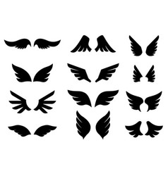 set wing icons design element for poster vector image
