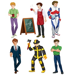 Six men with different professions vector