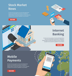 smart internet banking promotion page vector image