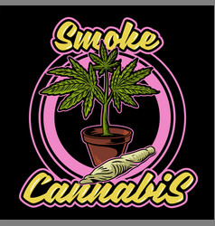 Smoke cannabis print vector