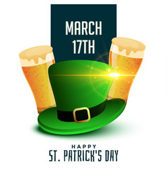 st patricks day background with beer and hat vector image