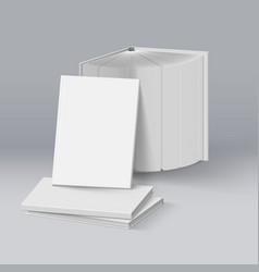 stack of blank white books mockup template on vector image