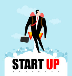 start up businessman jet pack manager is on vector image