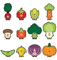 Stickers vegetables vector image vector image