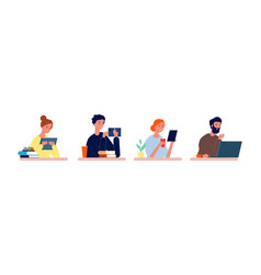 students at desk exam preparation people reading vector image