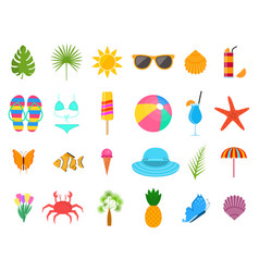 summer time color sign icon set vector image