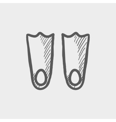 Swimming flippers sketch icon vector