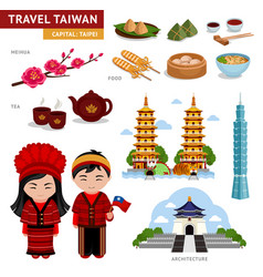 Travel in taiwan taiwanese in national costumes vector