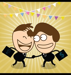 Two cute businessman sale with his idea vector image