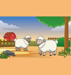 two happy sheep in the farm with cartoon style vector image