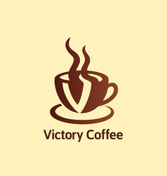 victory coffee cup logo brand image vector image