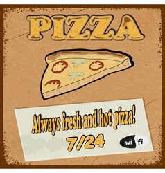 Vintage postcard with the slice of pizza eps10 vector image