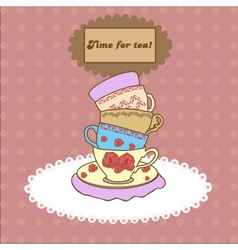 Vintage tea mugs on the tablecloth for your design vector image