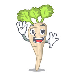 Waving parsnip isolated on the cartoon style vector