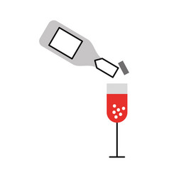 Wine bottle and cup vector