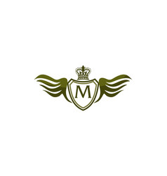 wing shield crown initial m vector image