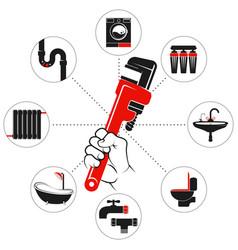 wrench in hand plumbing symbol vector image