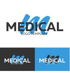 medical logo letter m logo logo template vector image