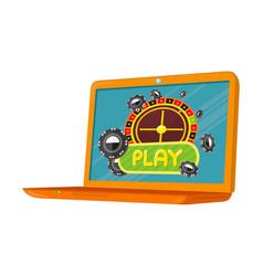 online games banner laptop casino roulette wheel vector image