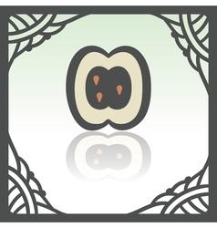 Outline apple slice fruit icon modern logo and vector