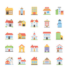 Pack of buildings flat icons vector