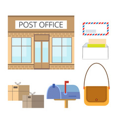 set of postal service objects vector image