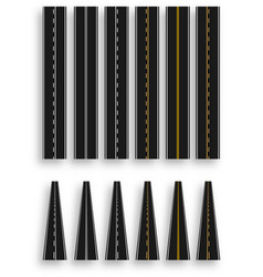 set of roads with various white and yellow marks vector image vector image