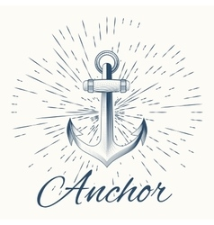 anchor and vintage sun burst frame vector image vector image