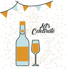 bottle champagne and glass lets celebrate vector image