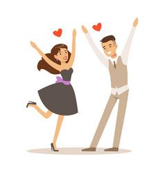 Happy elegant couple in love running into each vector