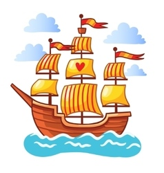 Sailing ship floating in the water vector image