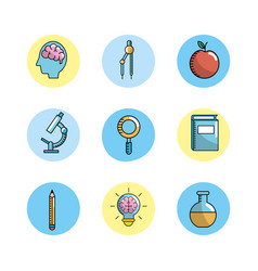 set school utensils to education knowledge vector image